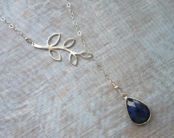 Mother of Groom Gift, Lariat,Sapphire, Gift for Moms, Sterling Silver Leaf Lariat, Silver Branch, Y Necklace, Wedding Jewelry, Mother in Law