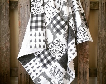 Woodland Patchwork Baby Blanket || Monochrome Woodland Blanket || Black & White Forest Baby Blanket || Mountain Patchwork Baby Blanket