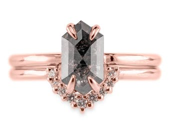1.16 Carat Black Speckled Rose Cut Hexagon Diamond Engagement Ring, Recycled 14k Rose Gold