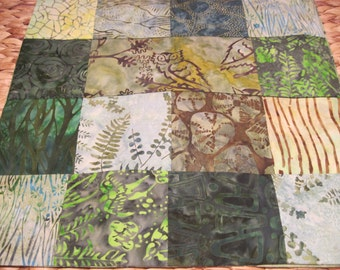 """14"""" x 14"""" Batiks Pillow COVER - 15 Forest Green Squares of Nature Surrounding Forest Owl"""