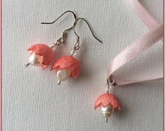 Salmon pink Jewelry set - pendant, silver hooks earrings - natural white pearls and silk -  fairies of flowers - silk cocoons jewelry, ooak
