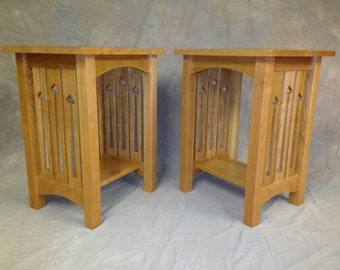 Mission Arts & Crafts Solid Cherry End Stand With Side Slat Cutouts Free Shipping