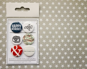 Badges / Adhesive Buttons Travel Set 4 for Project Life, Planners and Scrapbooking