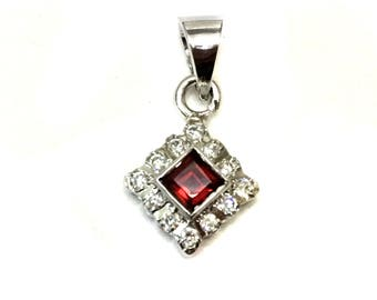 Natural Garnet 925 Sterling Silver Rhodium Plated Pendant setted Cz stones Square pendant daily wear jewelry christmas giftforher mothersday