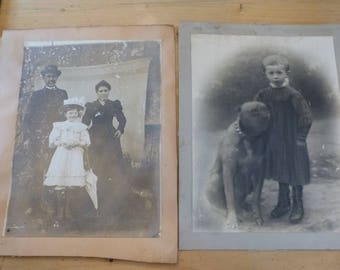Antique Edwardian Photographs Family Portrait and Young Boy with his Dog Photo Circa 1905 Large