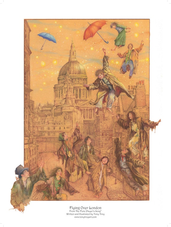 Flying Over London Poster by Tony Troy