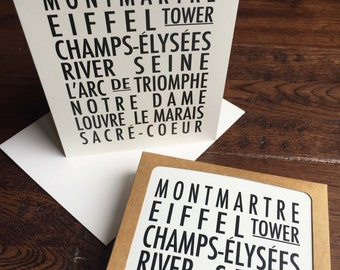 Paris typography print - Paris neighbourhoods - Set of 8 cards