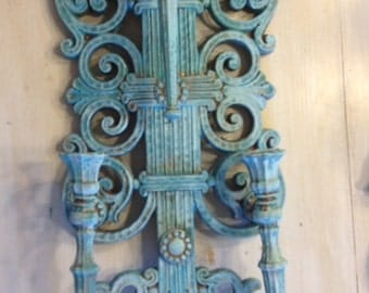 Dart/Homco 1970s Wall Sconces (set of 2) Verdigris - free shipping