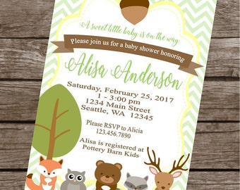 WOODLAND ANIMALS Happy Birthday Party or Baby Shower Invitations Set of 12 {1 Dozen}
