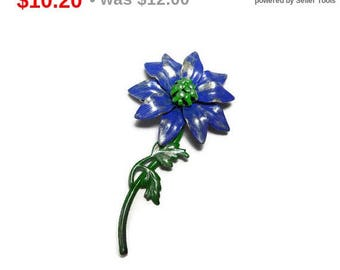 SALE Blue floral brooch pin, enamel daisy like pin, upcycled by adding a wash of light gold antiquing glaze over the blue and green