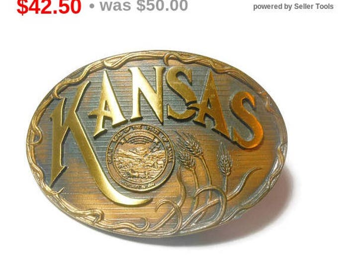 SALE Kansas belt buckle, solid bronze western belt buckle, sheaf of wheat, great seal of the state of Kansas, signed High Mesa Buckles