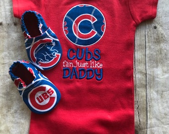 Chicago Cubs Inspired Booties and Matching Shirt or Bodysuit