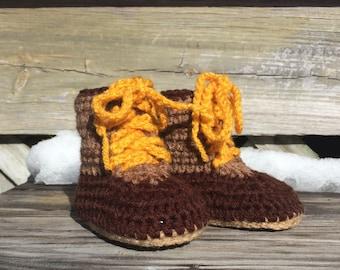 Hand Crocheted Maine Booties, Slippers, Socks, Baby, Children