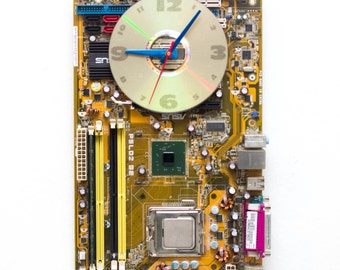 Geeky Wall clock - recycled Computer - yellow / olive green circuit board - ready to ship c3254