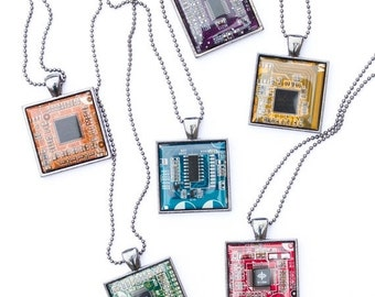 Techie necklace - Circuit board necklace - geeky square necklace - recycled computer motherboard - men's jewelry