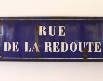 "French Vintage LARGE Enamel Road Sign...Measurements 27.1/2"" x 11""...Vintage Street Sign....Shabby Chic...Collectible."