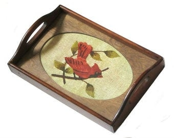 Vintage Wood Display Tray Three Mountaineers Oval Wooden Frame Glass Top Serving Insert Your Needlework Art Photos Flowers