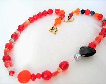 Red Glass Bead Necklace - Black Heart -  Faceted Single Strand - Toggle Heart Clasp