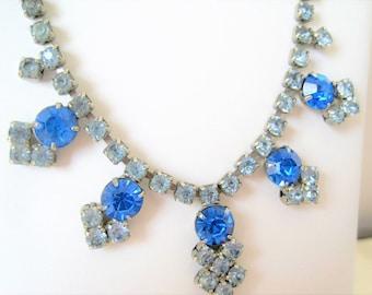 Art Deco Blue Necklace  - Sapphire Blue Rhinestones -   Wedding Prom Choker