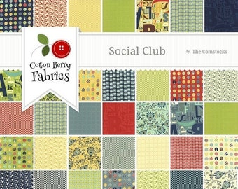 SALE Social Club Layer Cake by The Comstocks for Moda - One Layer Cake - 37090LC