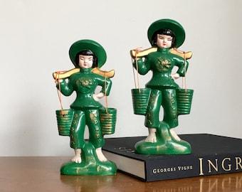 Vintage Asian Statue Pair Japanese Ceramic Water Girl Figurines Emerald Green Pantone Greenery Palm Beach Chic
