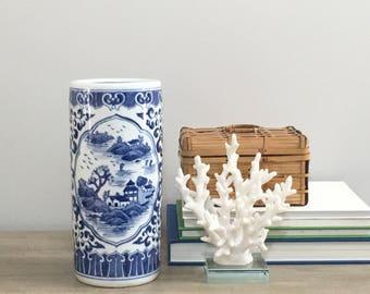 Vintage Blue White Chinese Porcelain Cylinder Vase Chinoiserie Chic Preppy Decor
