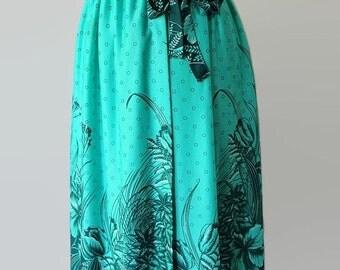 40%OFFSALE 70s Sirena Wrap Skirt Aqua Blue Border Print Nylon Swimsuit Cover Up