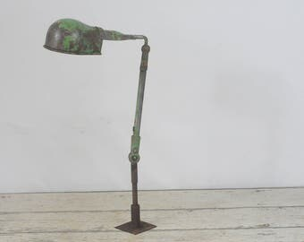 Vintage Articulated Green Lamp Industrial Age Machine Steampunk Light