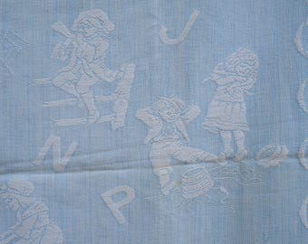 Vintage Bate's Child's Baby Blanket- Pale Blue and White- Alphabet, Nursery Rhyme Figures- Scalloped Edges, polka dots- 45 by 52 inches-