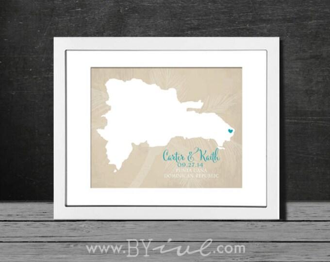 Punta Cana wedding gift. Caribbean honeymoon destination art. Dominican Republic map. Custom Couple Names. Unframed.