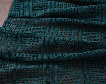 "Lace fabric, Heavy cotton lace,  dark green, 55"" beautiful fashion lace fabric for dresses, shirts, skirt. by the yard"