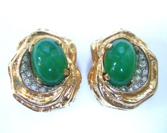 JOSEPH MAZER Glass Cabochon Gilt Earrings c 1970