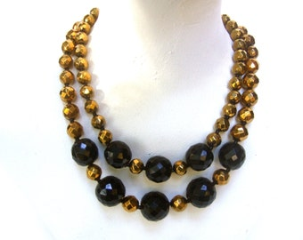 Chic Black & Gold Beaded Necklace c 1970