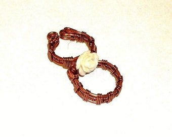Dreadlock Jewelry - Copper Weaved Cuffs With or Without White Stone Rose (Two-Piece Set)