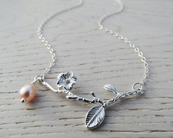 Cherry Blossom Twig & Pearl Necklace - Sterling Silver