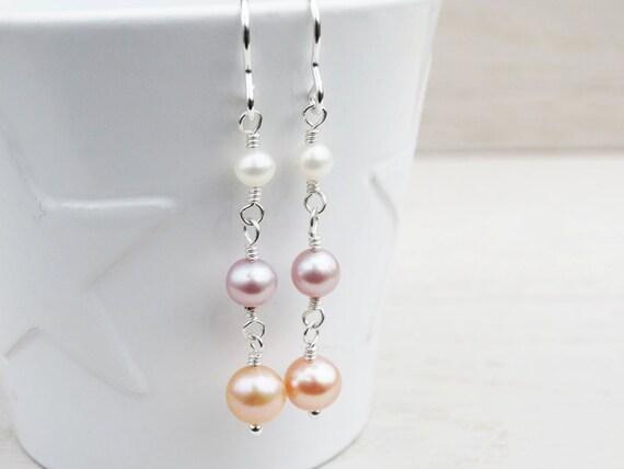 Long Pearl Drop Earrings - Sterling Silver