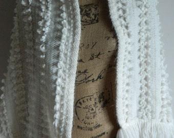 Vtg ILGQU White Shawl, White Fringe Shawl, Polka Dot Fringe White Shawl, ILGWU Shawl, White Fringe Sweater, Free Shipping