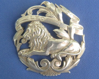 SELLON Signed Sterling LEO Brooch is Part of a Zodiac Sign Medallion Brooch Collection Similar to those of Cini.