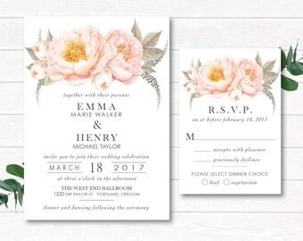 Digital Wedding Invitation, Wedding Invitation Suite, Printable, Digital, Watercolor, Peach Watercolor, Peach Wedding, Watercolor Invitation