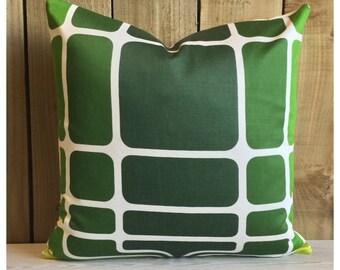 "Handmade Vintage 70s Green  Graphic Fabric Cushion Cover  18"" x 18"" Retro Throw Pilllow"