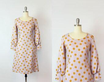 vintage 60s mod dress / 1960s polka dot dress / lilac purple linen dress / bishop sleeve / purple and orange dress / Confetti Cake dress