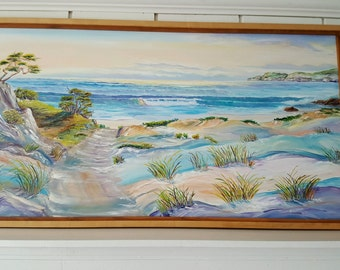 Oregon Dunes Oil, Serenity at The Beach, Peaceful Ocean, Beachscape,Beautiful Ocean Painting,52,28, 1.62 in., Dan Leasure Oils,