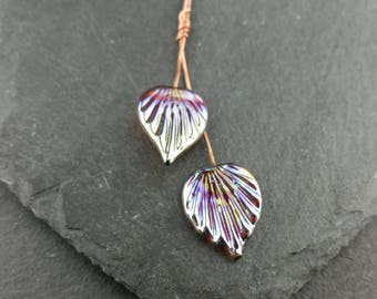 Pair of silver lustre lampwork glass fan headpins   Earring pair   Handmade lampwork glass