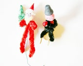 Old Set of German Vintage Chenille Chimney Sweep and Cenille Santa on Sledge  / Christmas Home Decor