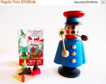 SPRING SALE - Miniature Wooden Incense Smoker Man Conductor By Company Seiffen  + FREE Box Miniature German Incense cones