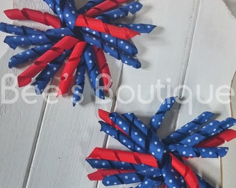 red with blue and polka dots korker bow set