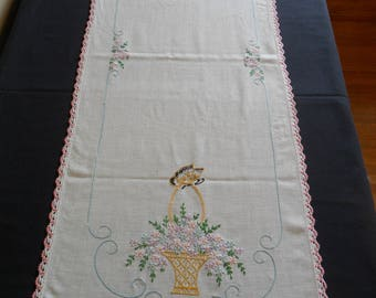 """Vintage Dresser Scarf, 15"""" X 39"""" hand embroidered with hand crocheted lace edging flower basket green shabby chic"""
