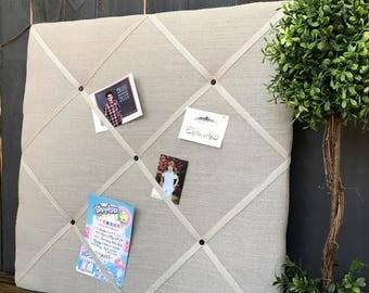 Upholstered Bulletin Board - Office Cork Board - READY TO SHIP - pin board - Inspiration board- Girls Room bulletin - back to school