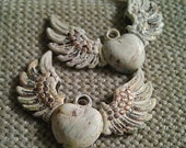 2 Angel Wing w/Heart Charms, Handpainted