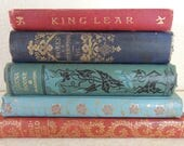 FIVE Small Beautiful Antique Books for Tabletop Decor Library Shelves Photo Props Decorator Books 1866-1900